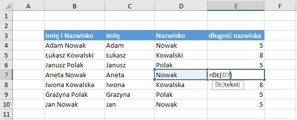 Przykład użycia funkcji długość Excel