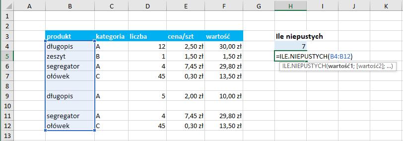Przykład użycia funkcji ile.niepustych Excel