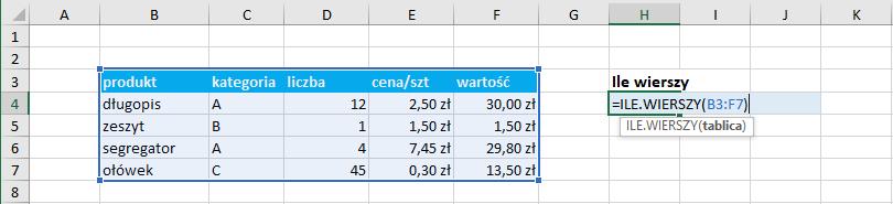 Przykład użycia funkcji ile.wierszy Excel