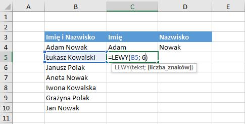 Przykład użycia funkcji lewy Excel