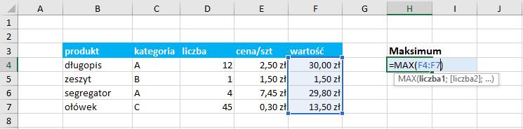 Przykład użycia funkcji maximum Excel