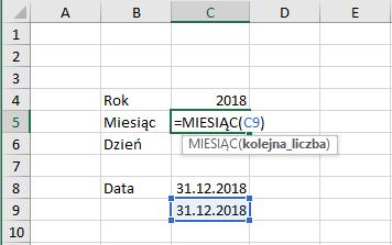 Przykład użycia funkcji miesiac Excel