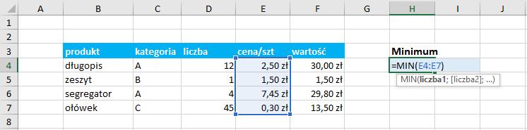 Przykład użycia funkcji minimum Excel