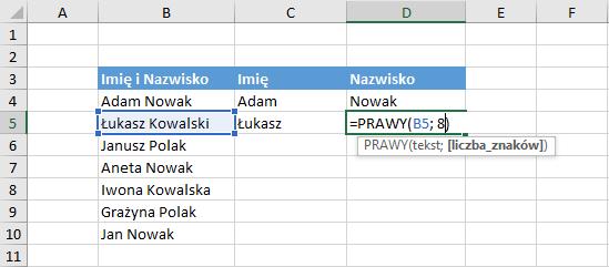 Przykład użycia funkcji prawy Excel