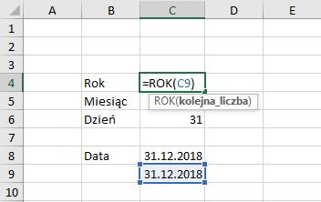 Przykład użycia funkcji rok Excel