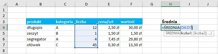 Przykład użycia funkcji średnia Excel