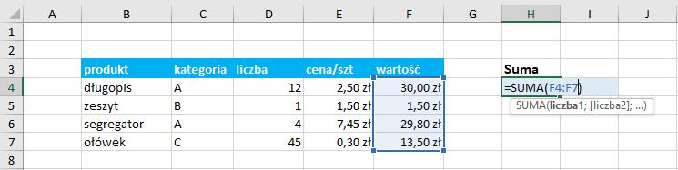 Przykład użycia funkcji suma Excel