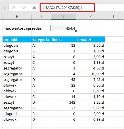 funkcja tablicowa MAX Excel