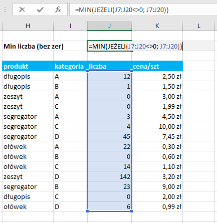 funkcja tablicowa MIN Excel