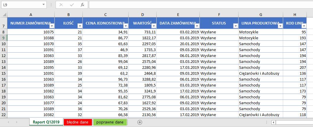 rejestrator makr w Excel