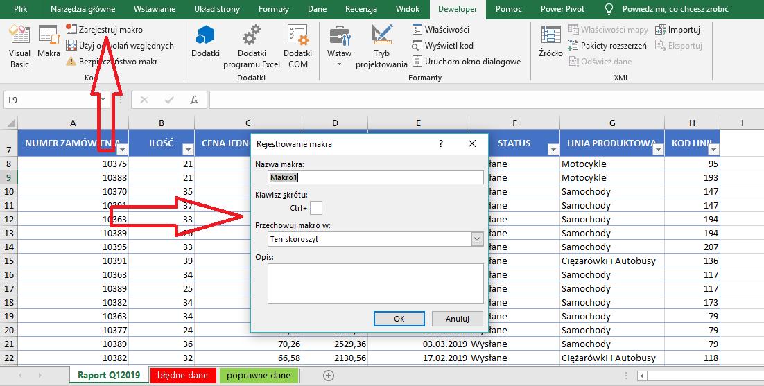 rejestrator makr Excel