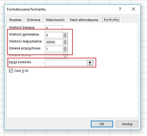 atrybuty przycisku pokrętła Excel